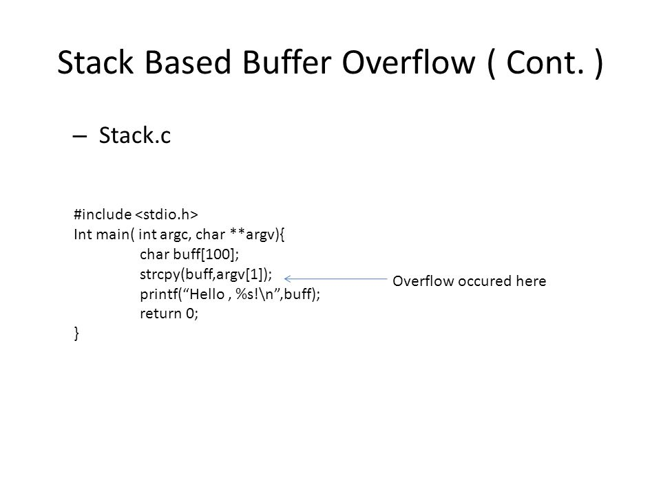 Stack Based Buffer Overflow ( Cont.