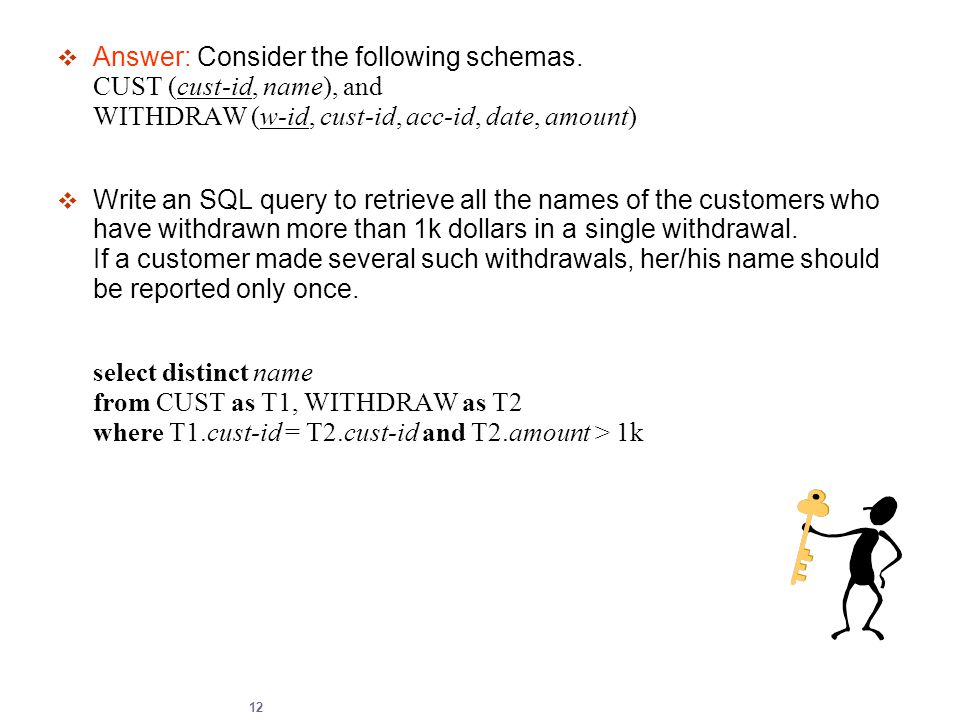 12  Answer: Consider the following schemas. CUST (cust-id, name), and WITHDRAW (w-id, cust-id, acc-id, date, amount)  Write an SQL query to retrieve