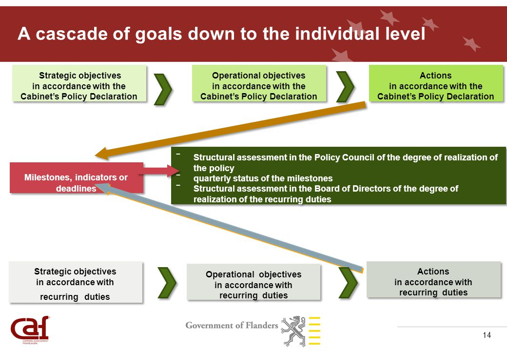 14 A cascade of goals down to the individual level Strategic objectives in accordance with the Cabinet's Policy Declaration Strategic objectives in accordance with recurring duties Operational objectives in accordance with the Cabinet's Policy Declaration Operational objectives in accordance with recurring duties Actions in accordance with the Cabinet's Policy Declaration Actions in accordance with recurring duties Milestones, indicators or deadlines - Structural assessment in the Policy Council of the degree of realization of the policy - quarterly status of the milestones - Structural assessment in the Board of Directors of the degree of realization of the recurring duties - Structural assessment in the Policy Council of the degree of realization of the policy - quarterly status of the milestones - Structural assessment in the Board of Directors of the degree of realization of the recurring duties