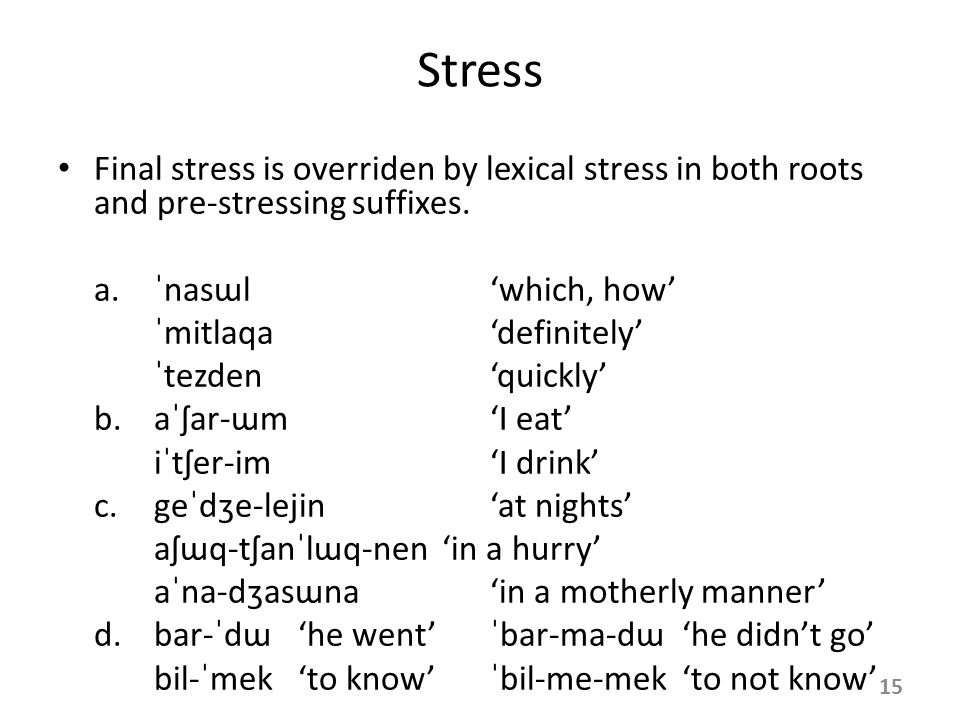 Stress Each word in Crimean Tatar has exactly one main stress. The default stress position is word-final. – It has been argued for Turkish (Levi 2005)