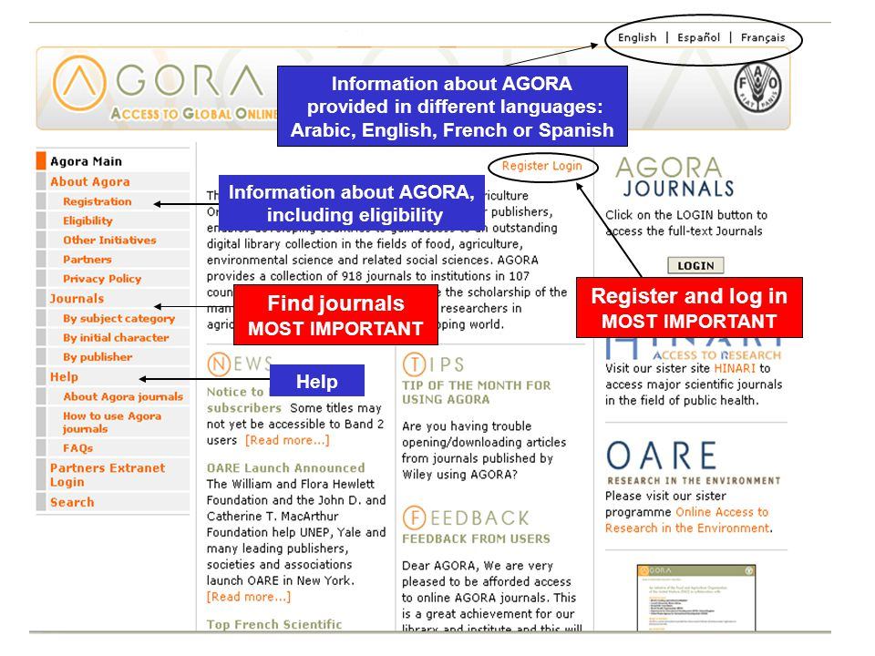 Help Find journals MOST IMPORTANT Information about AGORA, including eligibility Register and log in MOST IMPORTANT Information about AGORA provided in different languages: Arabic, English, French or Spanish