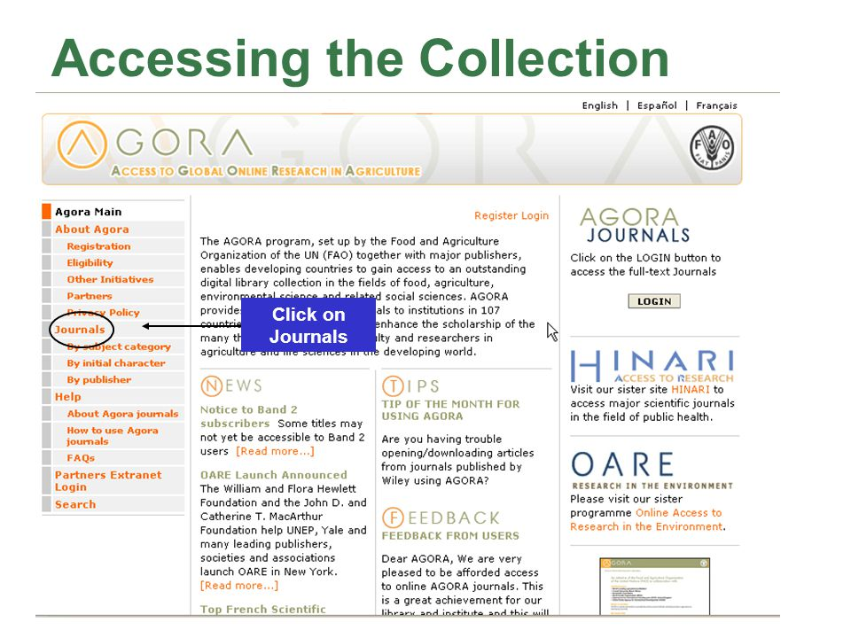 Accessing the Collection Click on Journals
