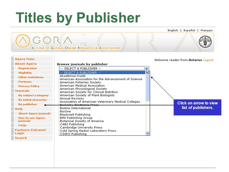 Titles by Publisher Click on arrow to view list of publishers.