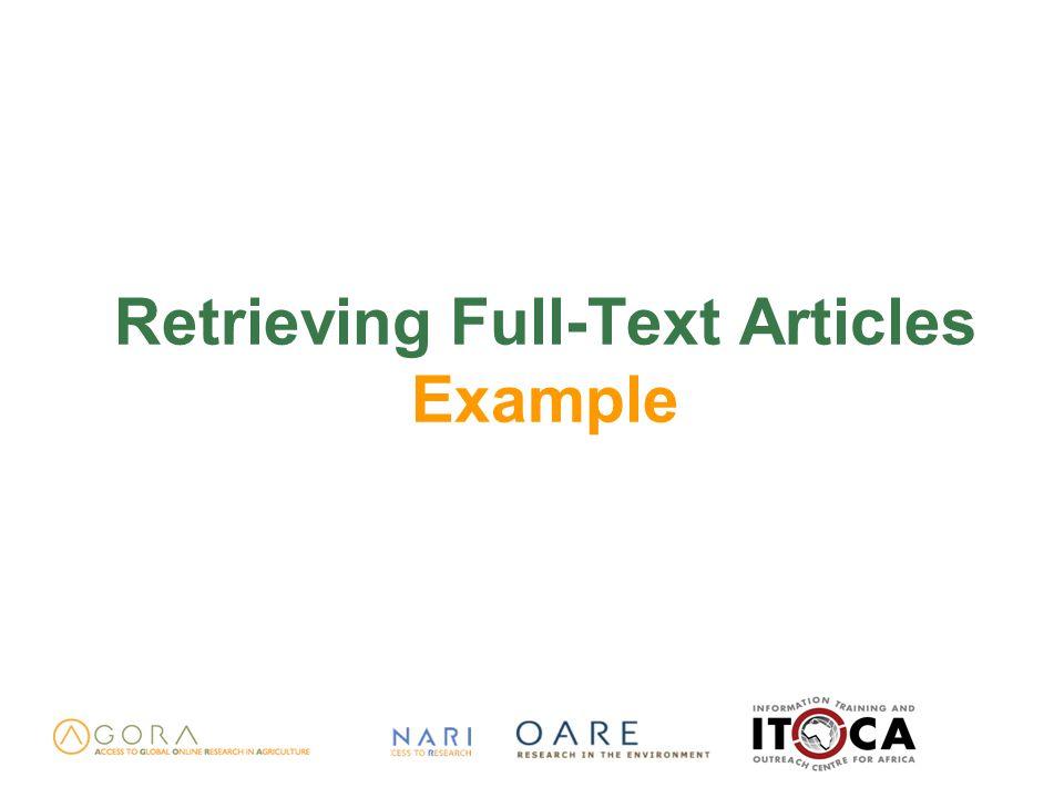 Retrieving Full-Text Articles Example