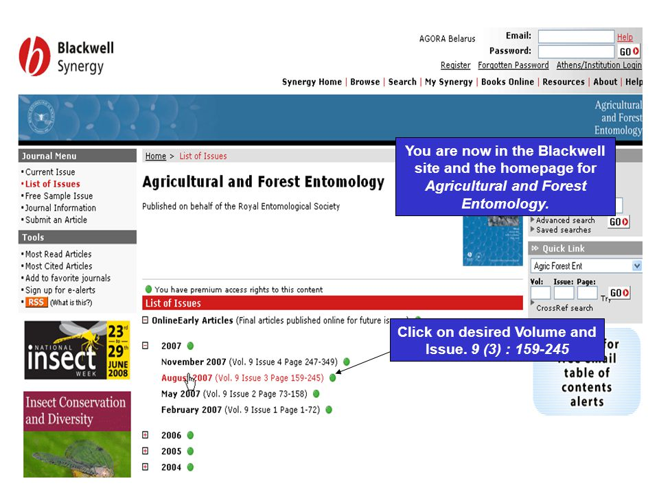 You are now in the Blackwell site and the homepage for Agricultural and Forest Entomology.