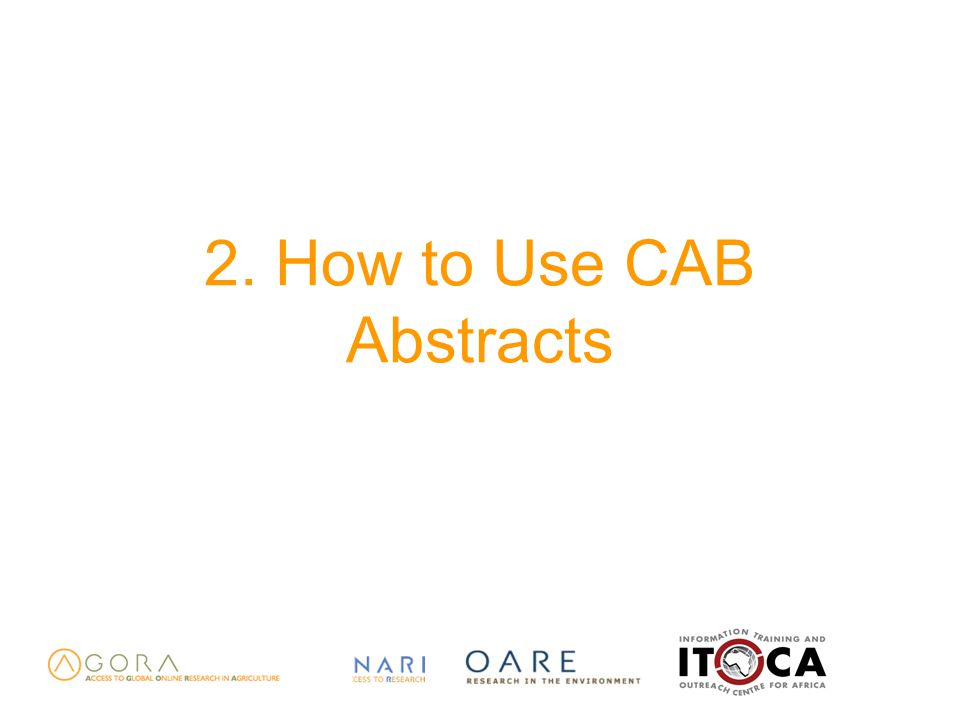2. How to Use CAB Abstracts