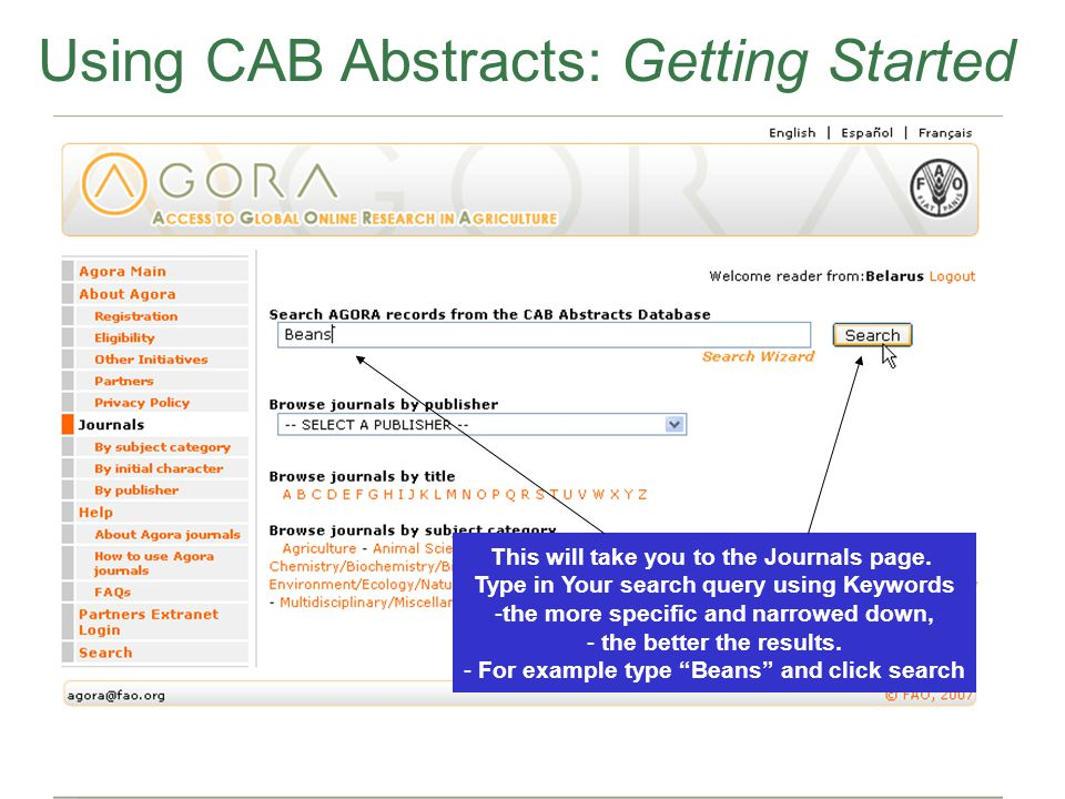 CAB Abstracts Using CAB Abstracts: Getting Started This will take you to the Journals page.