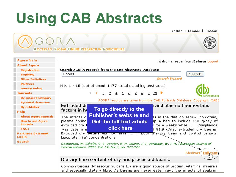 CAB Abstracts Using CAB Abstracts To go directly to the Publisher's website and Get the full-text article click here