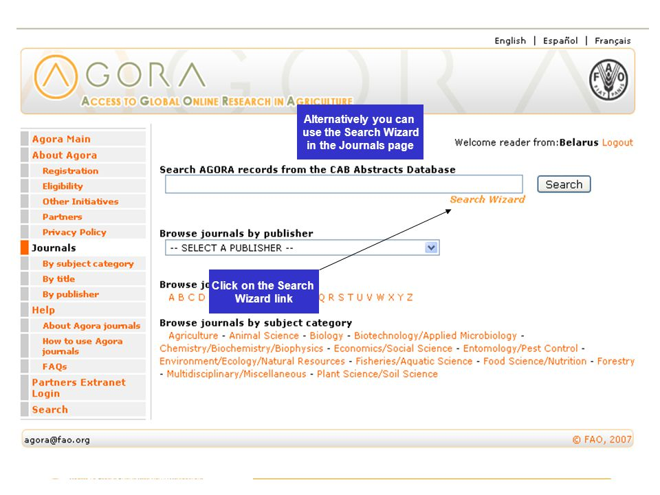 CAB Abstracts Click on the Search Wizard link Alternatively you can use the Search Wizard in the Journals page