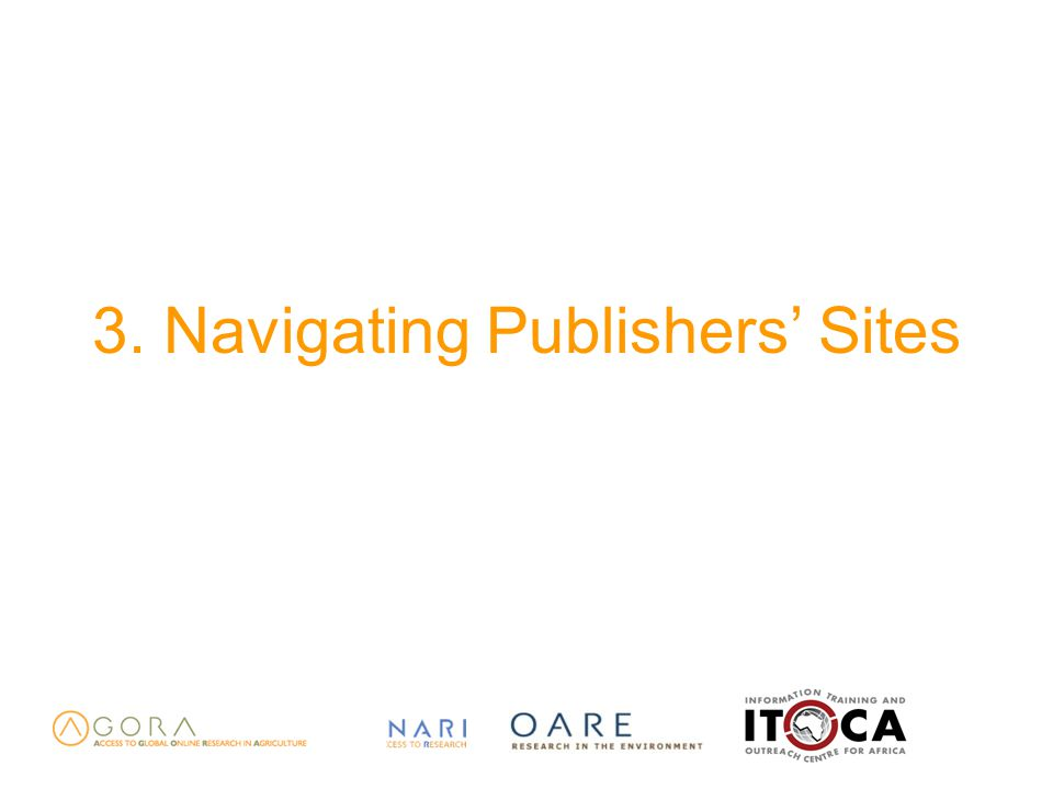 3. Navigating Publishers' Sites