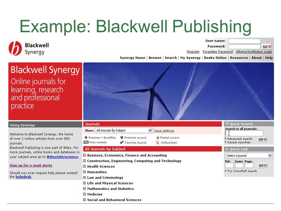 Example: Blackwell Publishing