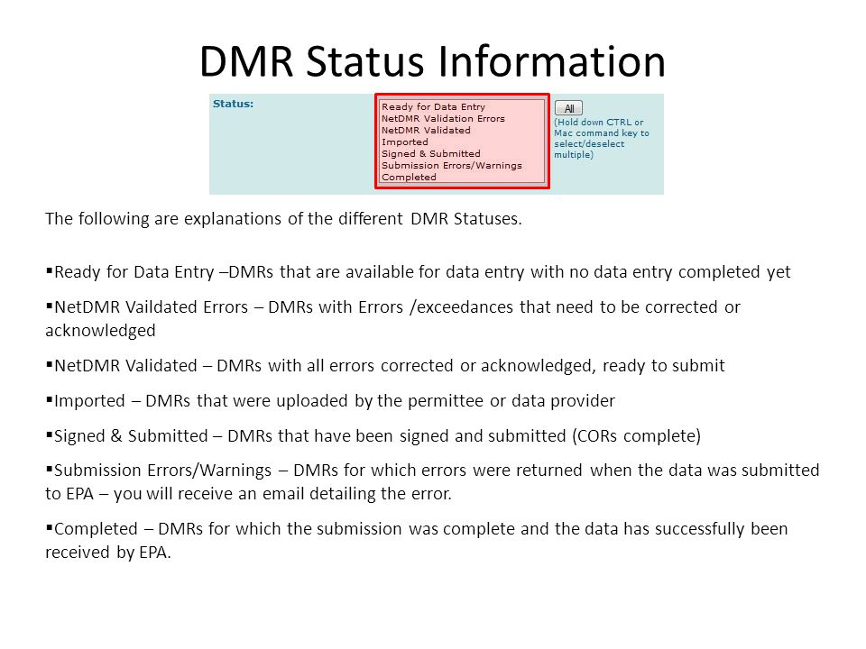DMR Status Information The following are explanations of the different DMR Statuses.  Ready for Data Entry –DMRs that are available for data entry wi