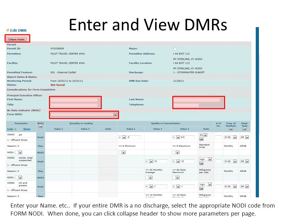 Enter and View DMRs Enter your Name. etc..