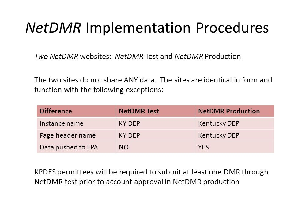 NetDMR Implementation Procedures Two NetDMR websites: NetDMR Test and NetDMR Production The two sites do not share ANY data. The sites are identical i