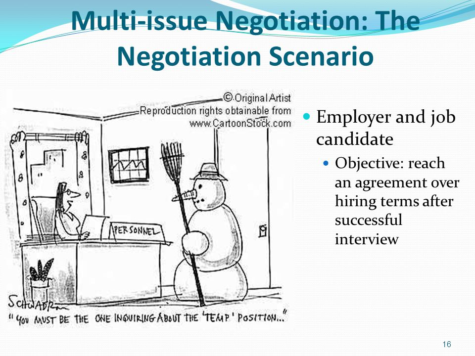 Multi-issue Negotiation: The Negotiation Scenario Employer and job candidate Objective: reach an agreement over hiring terms after successful intervie