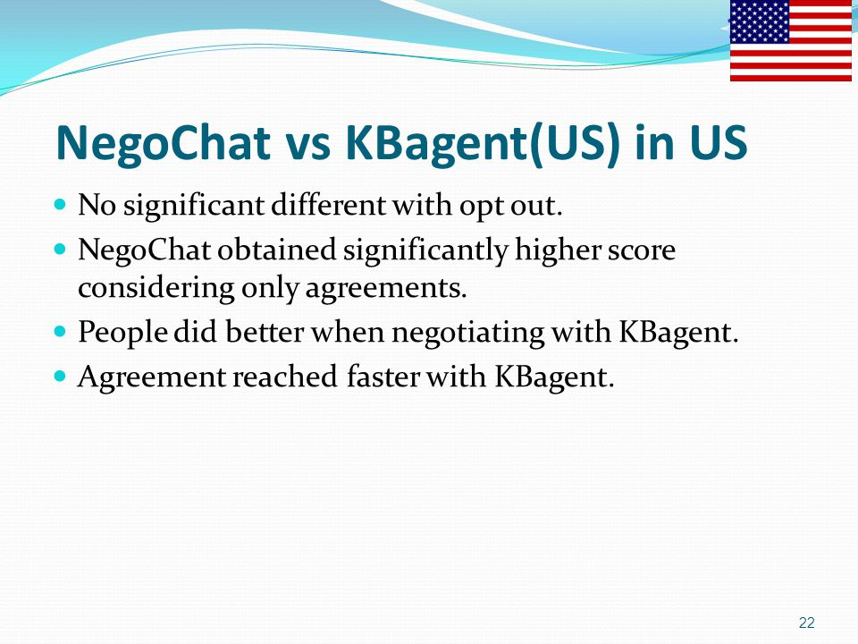 NegoChat vs KBagent(US) in US No significant different with opt out. NegoChat obtained significantly higher score considering only agreements. People