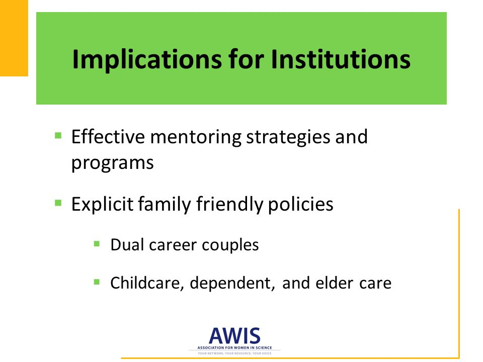 Implications for Institutions  Effective mentoring strategies and programs  Explicit family friendly policies  Dual career couples  Childcare, dependent, and elder care