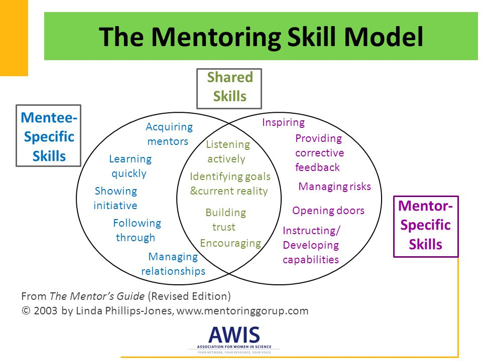 The Mentoring Skill Model Mentee- Specific Skills Shared Skills From The Mentor's Guide (Revised Edition) © 2003 by Linda Phillips-Jones, www.mentoringgorup.com Mentor- Specific Skills Acquiring mentors Learning quickly Showing initiative Following through Managing relationships Listening actively Identifying goals &current reality Building trust Encouraging Inspiring Providing corrective feedback Managing risks Opening doors Instructing/ Developing capabilities