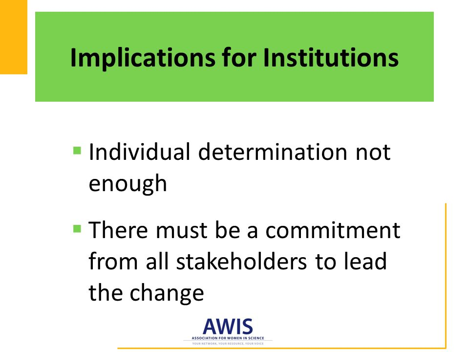Implications for Institutions  Individual determination not enough  There must be a commitment from all stakeholders to lead the change