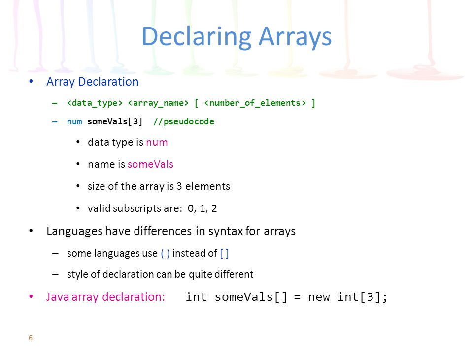 Using Constants with Arrays Remember, constants are – named constants – literals Use the constants in several ways – array size – array value – array subscript 17