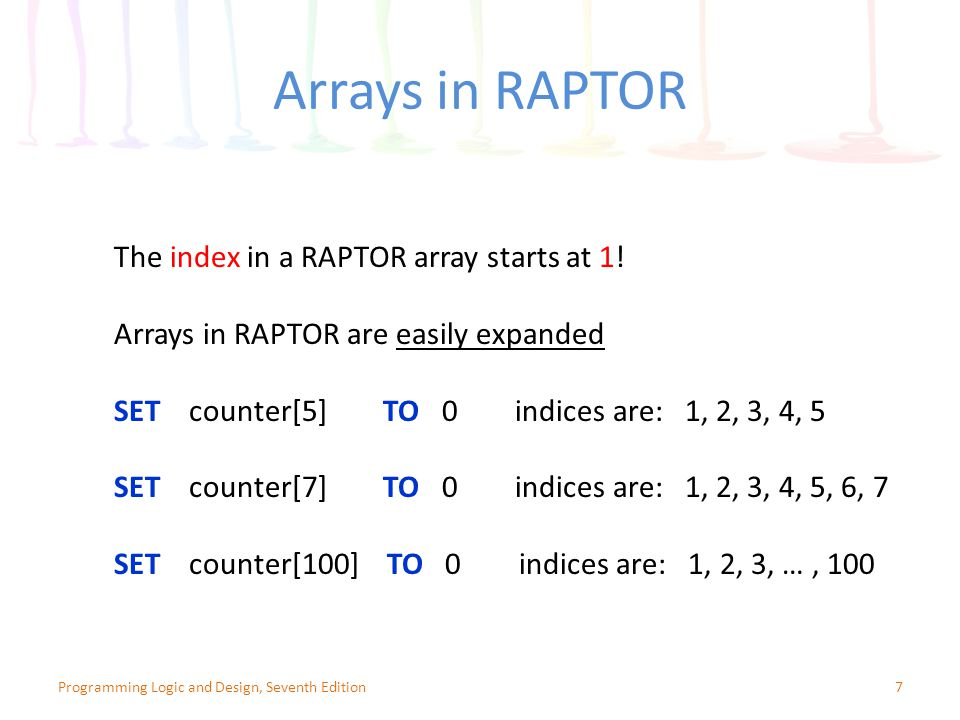 Summary (continued) Access data in an array – Use subscript containing a value that accesses memory occupied by the array Subscript is out of bounds if not within defined range of acceptable subscripts for loop is a convenient tool for working with arrays – Process each element of an array from beginning to end 48