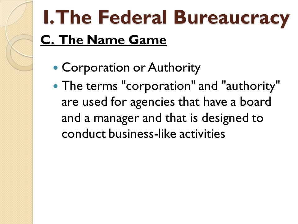 Corporation or Authority The terms