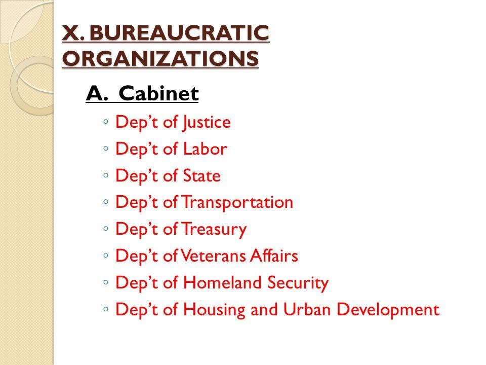X. BUREAUCRATIC ORGANIZATIONS A. Cabinet ◦ Dep't of Justice ◦ Dep't of Labor ◦ Dep't of State ◦ Dep't of Transportation ◦ Dep't of Treasury ◦ Dep't of