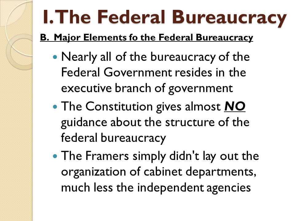 Nearly all of the bureaucracy of the Federal Government resides in the executive branch of government The Constitution gives almost NO guidance about