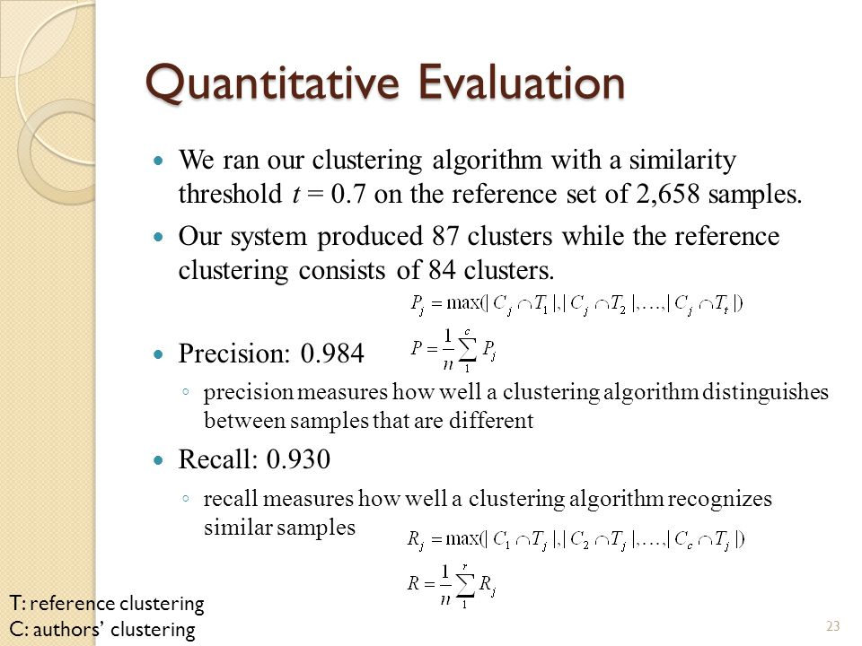 Quantitative Evaluation We ran our clustering algorithm with a similarity threshold t = 0.7 on the reference set of 2,658 samples.