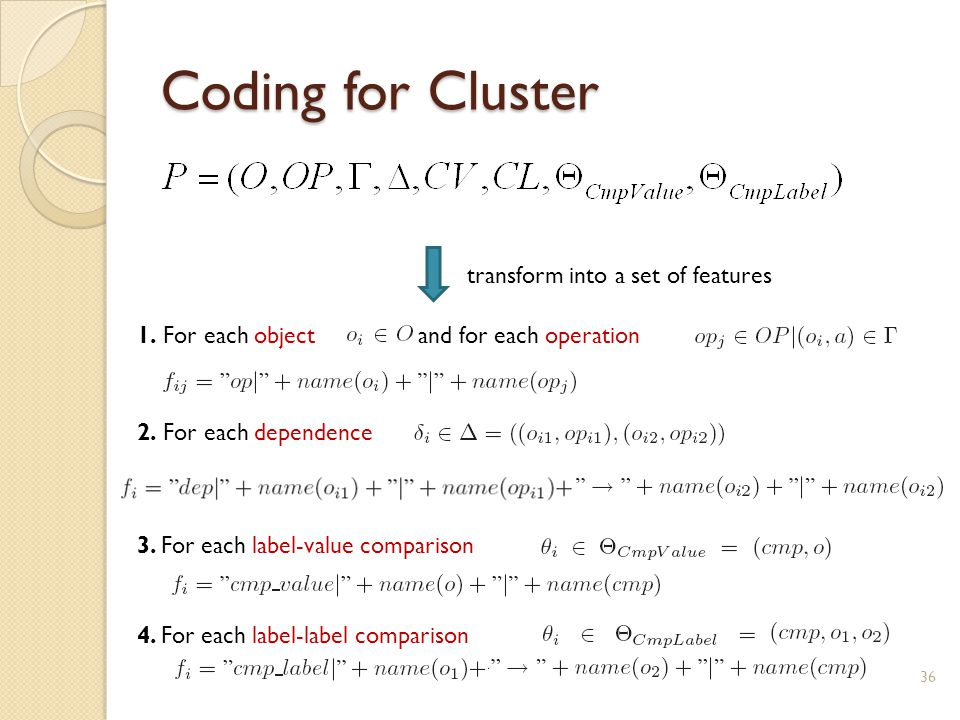 Coding for Cluster 36 transform into a set of features 1.