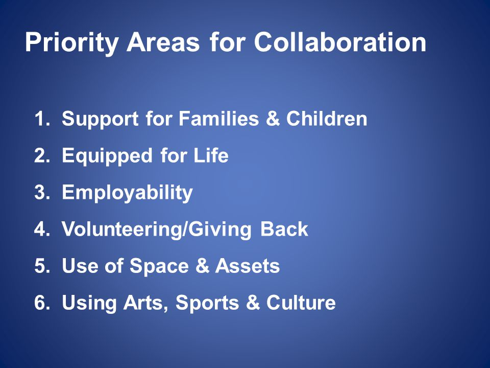 Priority Areas for Collaboration 1.Support for Families & Children 2.Equipped for Life 3.Employability 4.Volunteering/Giving Back 5.Use of Space & Ass