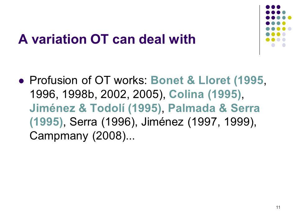 11 Profusion of OT works: Bonet & Lloret (1995, 1996, 1998b, 2002, 2005), Colina (1995), Jiménez & Todolí (1995), Palmada & Serra (1995), Serra (1996), Jiménez (1997, 1999), Campmany (2008)...