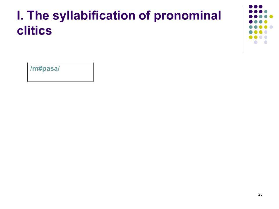 20 I. The syllabification of pronominal clitics /m#pasa/
