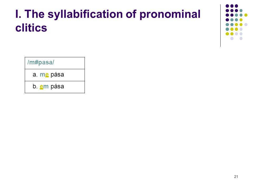 21 I. The syllabification of pronominal clitics /m#pasa/ a. me pása b. em pása