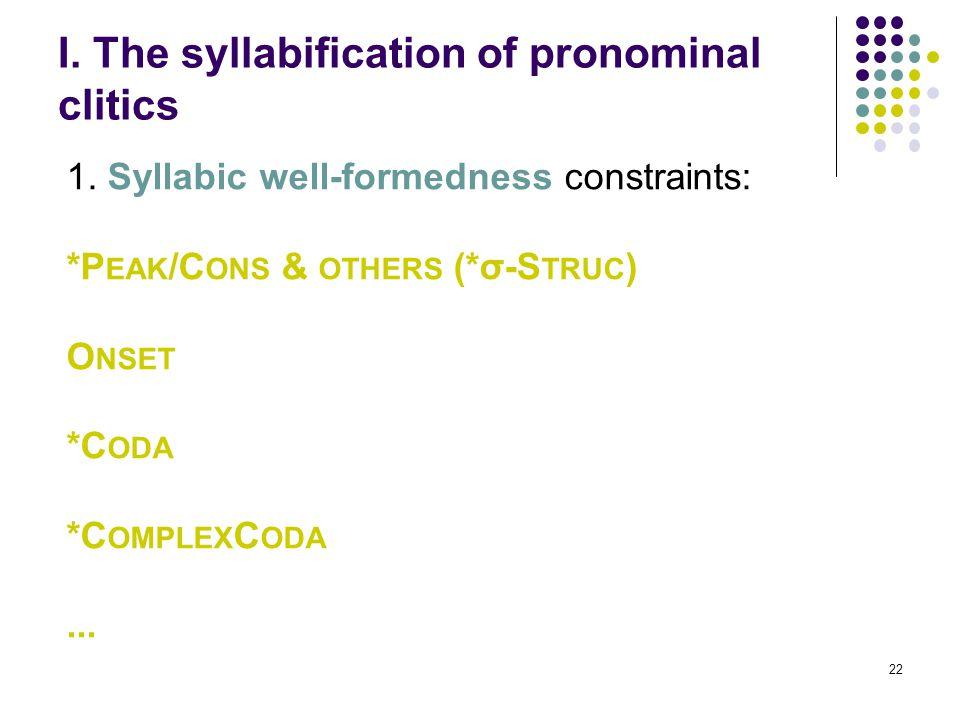 22 I. The syllabification of pronominal clitics 1.