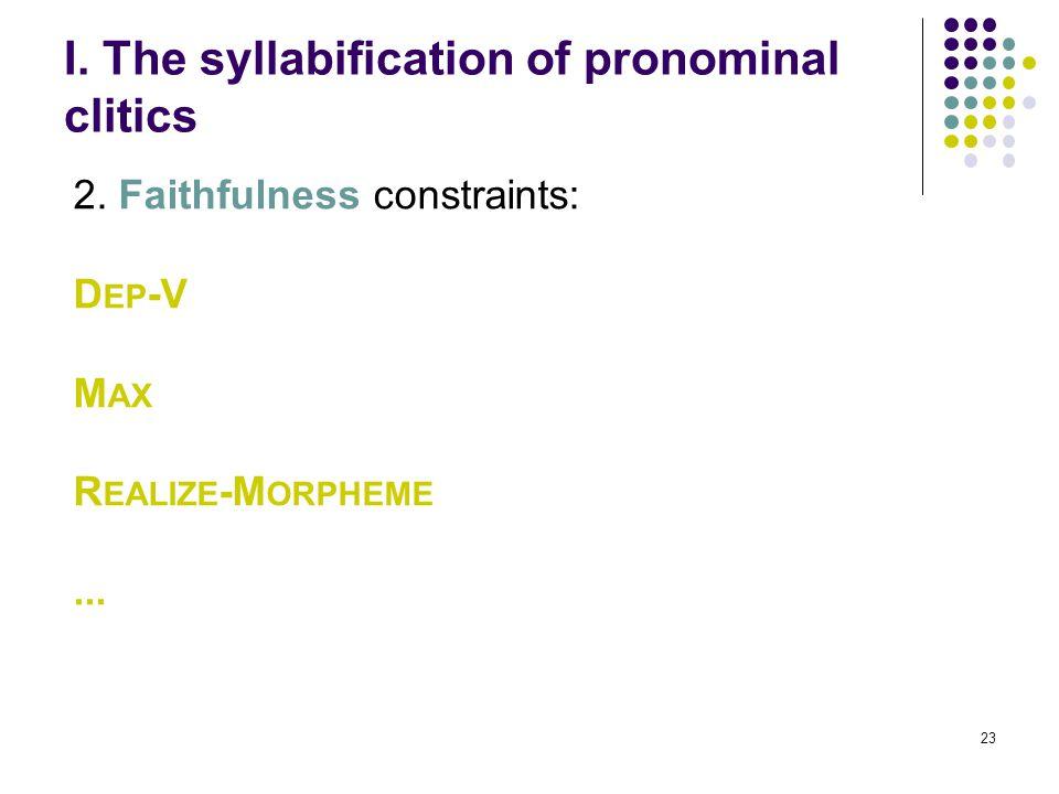23 I. The syllabification of pronominal clitics 2.