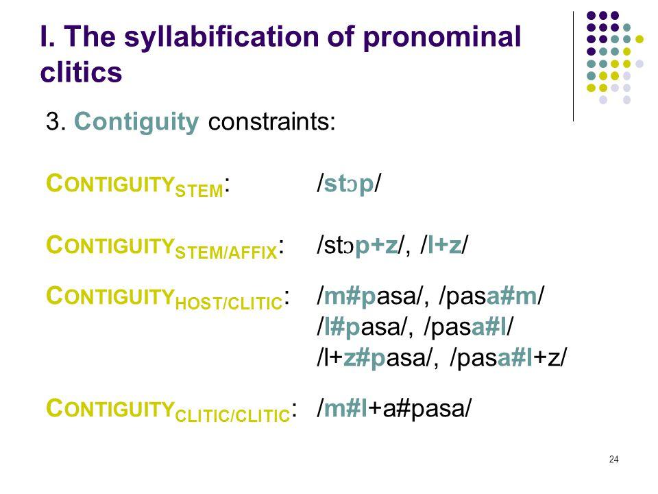 24 I. The syllabification of pronominal clitics 3.