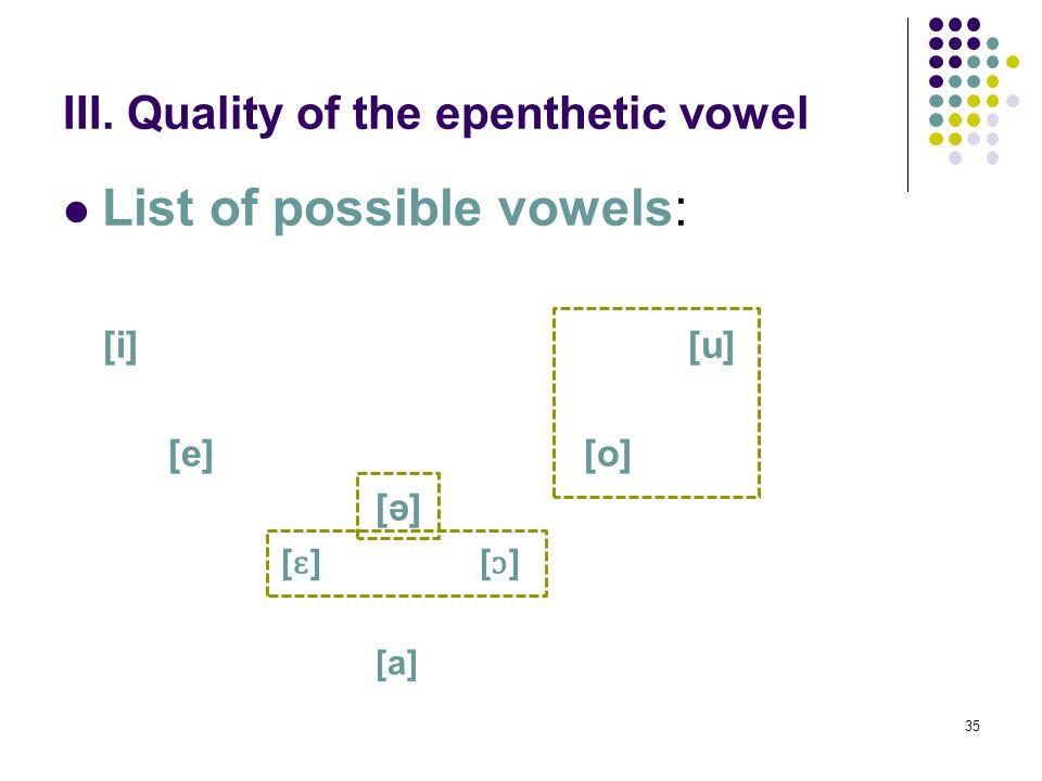 35 III. Quality of the epenthetic vowel List of possible vowels: [i][u] [e][o] [ə] [ ɛ ][ ɔ ] [a]