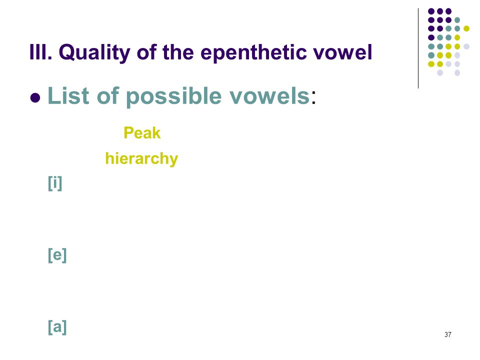 37 III. Quality of the epenthetic vowel List of possible vowels: Peak hierarchy [i] [e] [a]