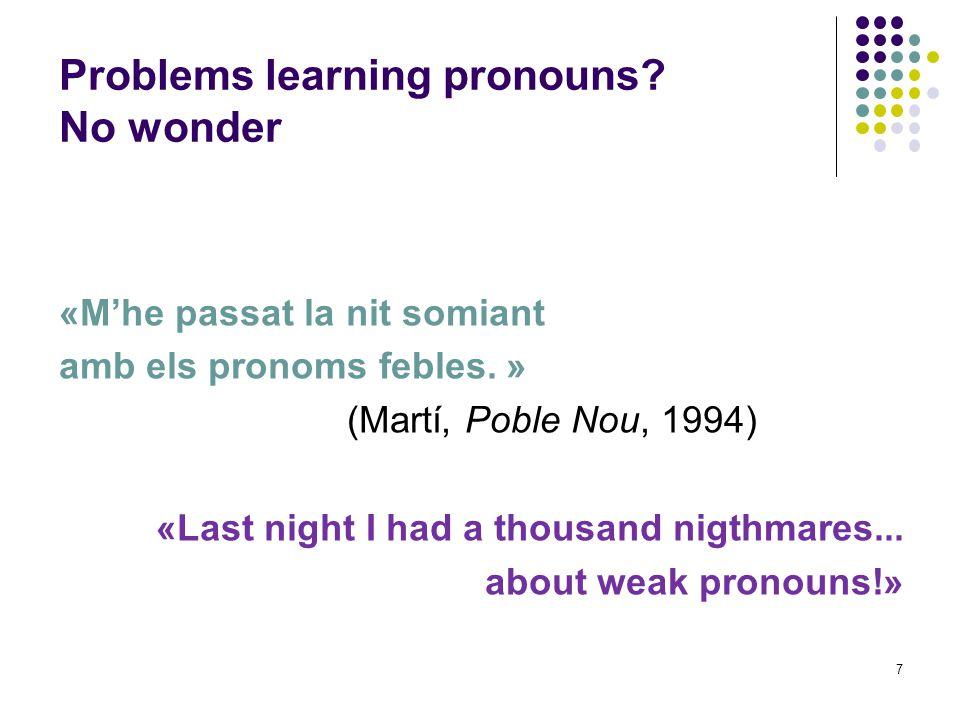 7 «M'he passat la nit somiant amb els pronoms febles.