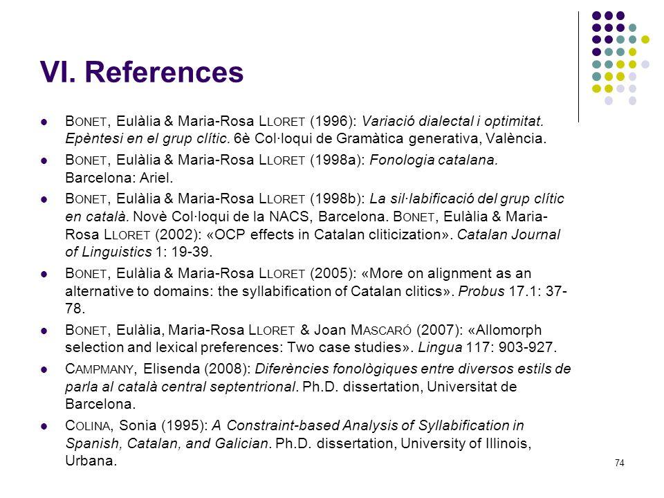 74 VI. References B ONET, Eulàlia & Maria-Rosa L LORET (1996): Variació dialectal i optimitat.