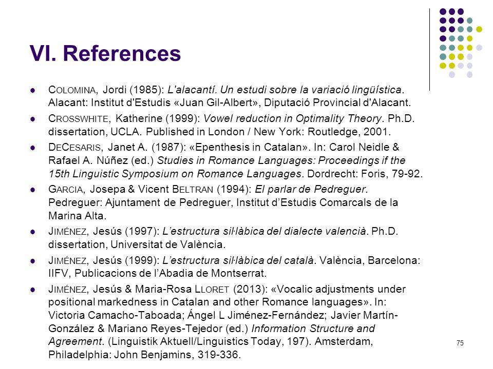75 VI. References C OLOMINA, Jordi (1985): L alacantí.