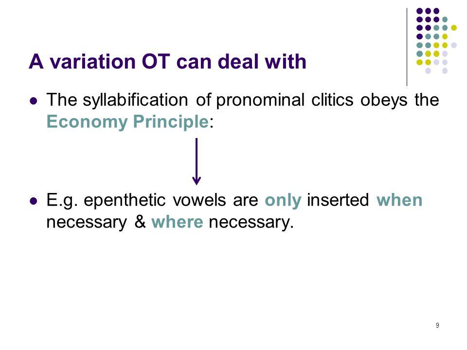 9 The syllabification of pronominal clitics obeys the Economy Principle: E.g.