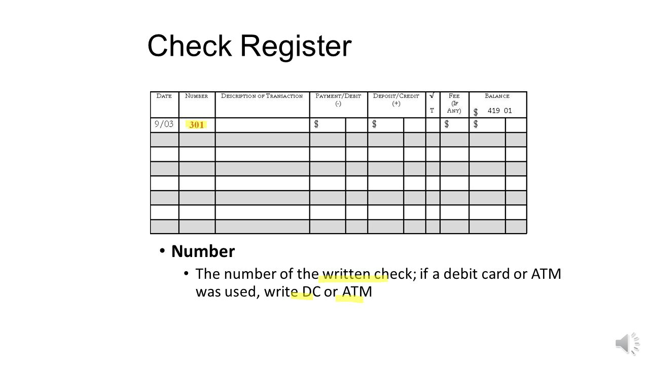 Check Register Date The date the check was written or transaction was made 419 01