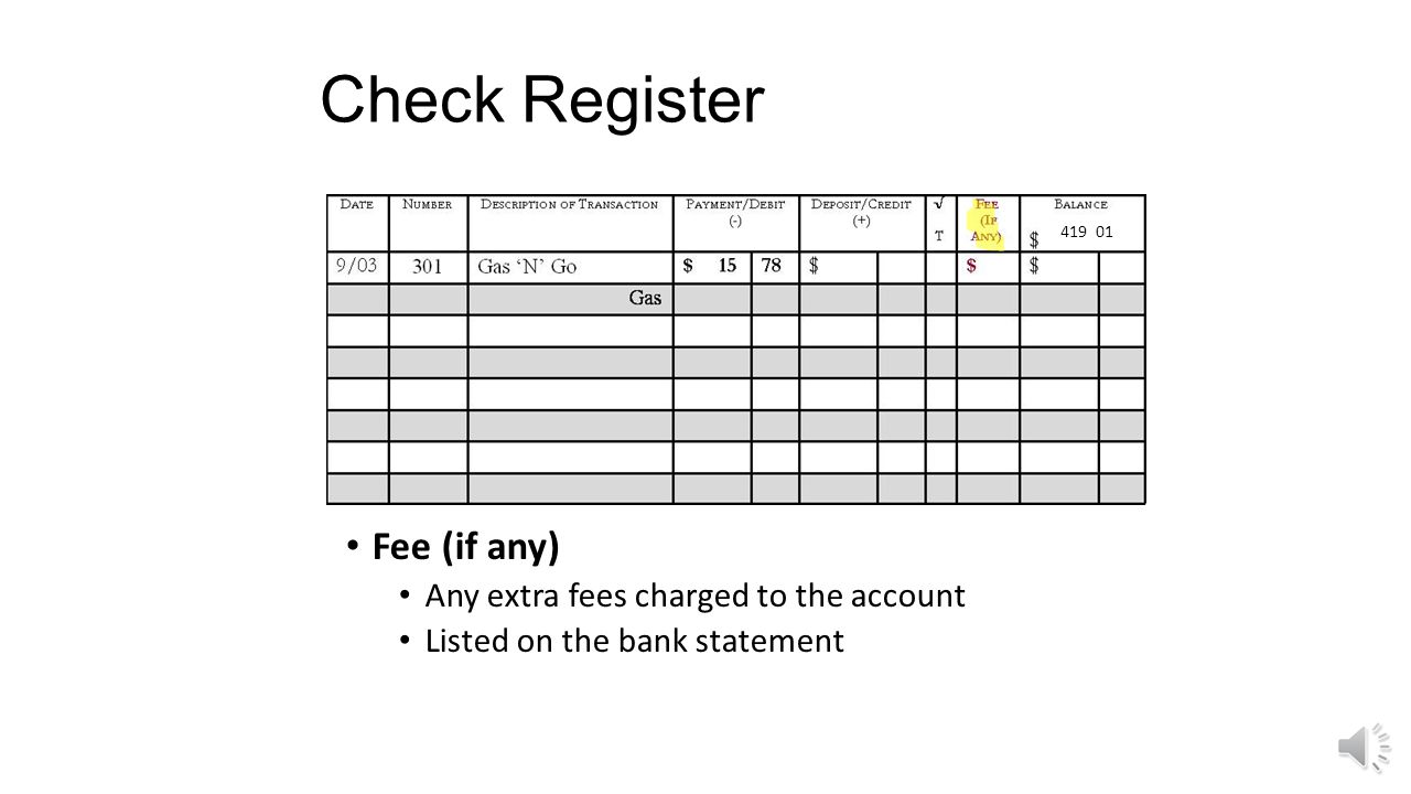 Check Register √ T A box used to track whether the check has cleared on the monthly bank statement when reconciling at the end of each month 419 01