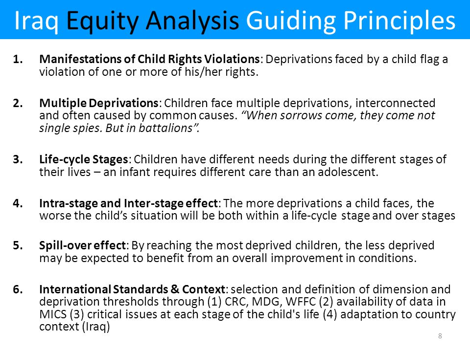 Iraq Equity Analysis Guiding Principles 1.Manifestations of Child Rights Violations: Deprivations faced by a child flag a violation of one or more of his/her rights.