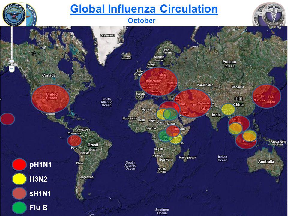 Slide 8 of 25 Global Influenza Circulation October pH1N1 H3N2 sH1N1 Flu B