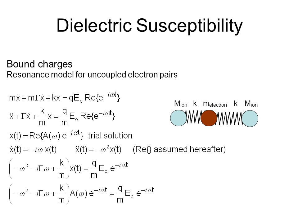 Dielectric Susceptibility Bound charges Resonance model for uncoupled electron pairs M ion k m electron k M ion