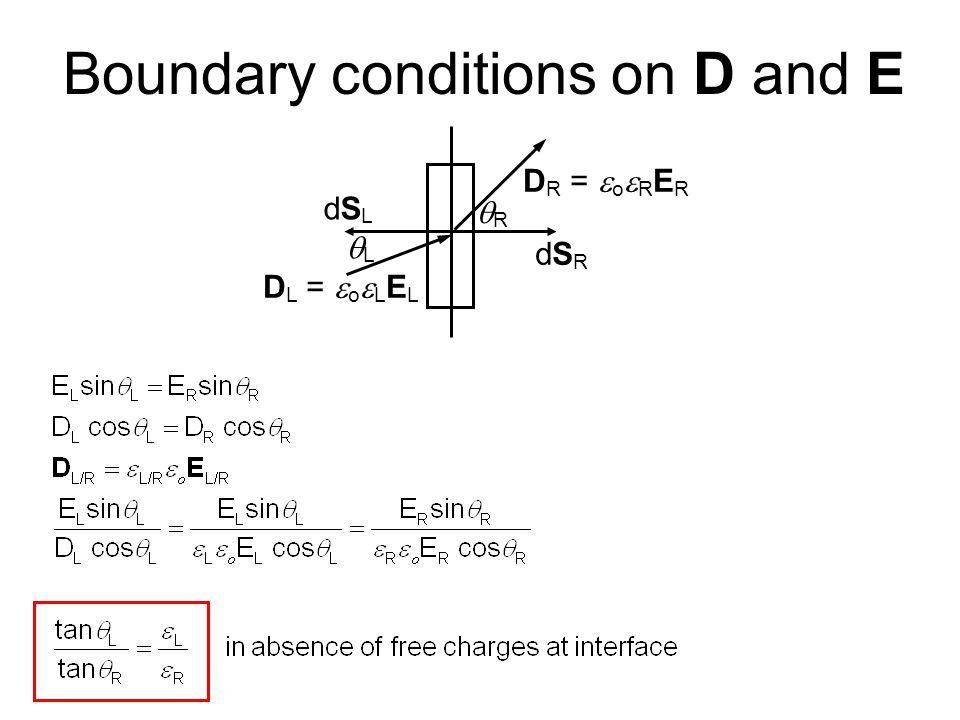 Boundary conditions on D and E D L =  o  L E L D R =  o  R E R dSRdSR dSLdSL LL RR