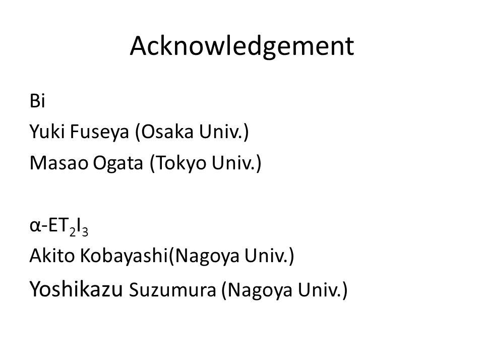 Acknowledgement Bi Yuki Fuseya (Osaka Univ.) Masao Ogata (Tokyo Univ.) α-ET 2 I 3 Akito Kobayashi(Nagoya Univ.) Yoshikazu Suzumura (Nagoya Univ.)